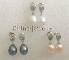 E7710 - wholesale 3pairs 9-10mm white pink black freshwater pearl earring