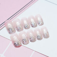 48pc Powder Glitter Golden Silver Long Full False Nail Art Tip Acrylic Fake Nail