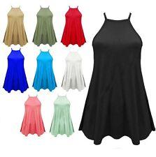 Ladies Cami Vest Swing Sleeveless High Neck Camisole Women Dress Plus Size Tops