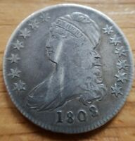 1808 Capped Bust Half Dollar better early date Very Fine VF + nice coin