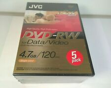 JVC DVD-RW 4.7GB 120MIN RE RECORDABLE DVDS 5 PACK Factory Sealed