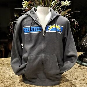NEW Charcoal NFL MAJESTIC Los Angeles CHARGERS Zip Hoodie Jacket Sz L
