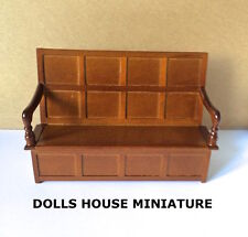 Tudor Bench Light Walnut, Doll House Miniature, Seating, Furniture, 1.12th