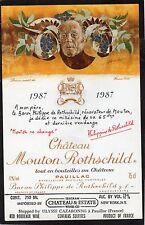 PAUILLAC 1EGCC ETIQUETTE CHATEAU MOUTON  ROTHSCHILD 1987 75 CL EXPORT §05/05/16§