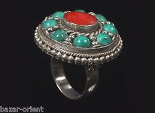 Traditioneller Tibetischer Türkis Ring tibetan turquoise ring neusilber  Nr.14