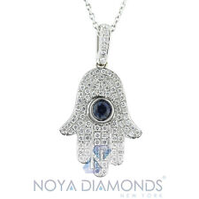 0.75 CARAT F VS2 DIAMOND AND SAPPHIRE HAMSA PENDANT SET IN 18K WHITE GOLD