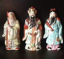 "Vintage Chinese Oriental Porcelain Ceramic Figurine Wise Man Men Set 3 Marked 6"""