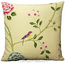 Sanderson Fabric Cushion Cover Pavilion Bird Designer Green Pink Blue Pillow 20""