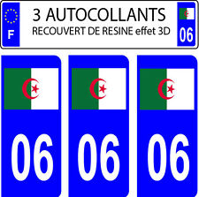 3 stickers plaque immatriculation auto DOMING 3D RESINE DRAPEAU ALGERIE DEPA 06