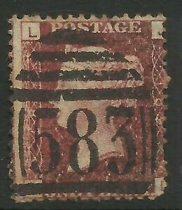 GB QUEEN VICTORIA 1d RED Penny PLATE 189 Letters L J USED