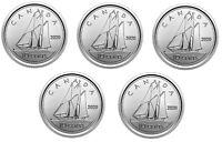 🇨🇦 2020 Canada five Dimes, 10 cents coins, Bluenose Schooner, UNC, 2020