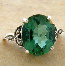 GREEN SIM. TOURMALINE 925 STERLING VICTORIAN DESIGN SILVER RING SIZE 10,    #749