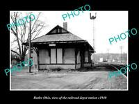OLD LARGE HISTORIC PHOTO OF BUTLER OHIO, THE RAILROAD DEPOT STATION c1940
