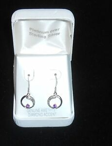 Platinum Over 925 Sterling Silver Amethyst With Diamond Accent Hanging Earrings