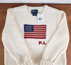 Polo Ralph Lauren Kids Crew American Flag Sweater USA, Cream, Size 6, NWT