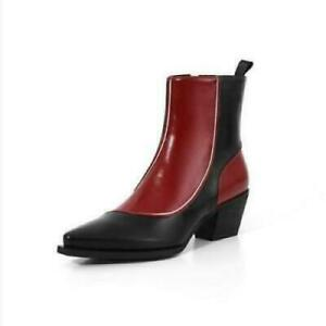 Womens Chic Leather Two Tone Pointy Toe Block Heel Bootie Ankle Boots Shoes PE