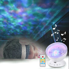 US Xmas Ocean Wave Music Projector LED Night Light Remote Lamp Kids Gift White