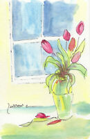 ORIGINAL MINI WATERCOLOR PEN ART VASE TULIPS FLORAL FLOWERS RED  BY SUE FURROW