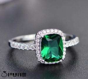 Women's Green Dress 925 Sterling Silver Filled Diamond Cut Square Finger Rings