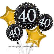 Happy 40th Birthday Bouquet 5 Foil Helium Balloons Black Gold Party Decorations