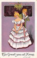 Romantic Couple ~Man & Lady~Under Mistletoe Antique 1905 Christmas Postcard-k839
