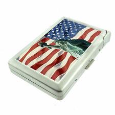 American Flag D20 Cigarette Case with Built in Lighter Metal Wallet Patriotic