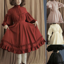 WOMEN SOLID COLOR PUFF SLEEVE BUTTONS LARGE SWING MIDI LOLITA DRESS PARTY SKIRT