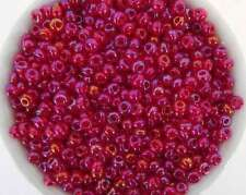 Czech Glass Seed Bead Bright Ruby Red Aurora Borealis Transparent Size 6/0