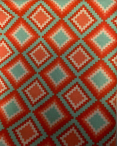 """Fabric Demask Squares Red a Light Blue on Cotton 9""""x42/44""""   Q 44"""