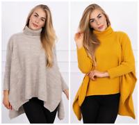 Pullover Damen Strick Pulli Rollkragen Oversize Locker Asymmetrisch Gelb Beige ♥
