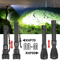 Super Bright Zoom XHP70/90 LED USB Rechargeable Tactical Flashlight Torch Light