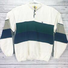 Duck Head Cotton Sweater Size L Beige Blue Green Button front long sleeve