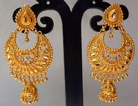 22K Gold Plated Designer Indian 2.5'' Long Indian Jhumka Earrings Step Set