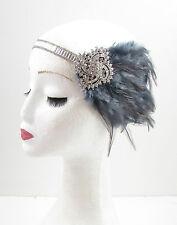 Dark Grey Silver Feather Headpiece 1920s Headband Flapper Great Gatsby Vtg 614