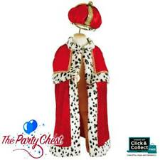 DELUXE KINGS ROBE AND CROWN Child Deep Red Regal Renaissance Costume KC36