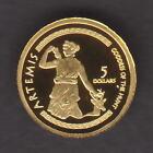 Cook Islands. 2009 Gold 5 Dollars.. Artemis.. 0.5gram .999 gold.. Proof