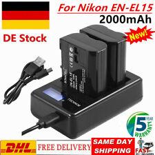 2×2000mAh EN-EL15 Akku+USB LCD Dual Ladegerät für Nikon D600 D800 D7000 D7500 WM