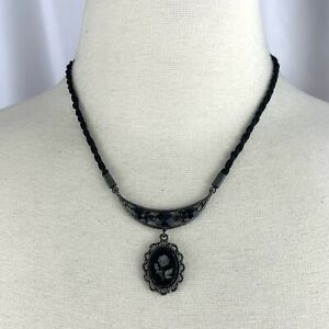 2028 by 1928 Intaglio Style Carved Black Glass Rose Cameo Gunmetal Necklace