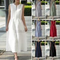 Women Plunge V Neck Sleeveless A-Line Dress Ladies Evening Party Maxi Dress 8-26