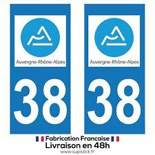 2 STICKERS AUTOCOLLANT PLAQUE IMMATRICULATION DEPT 38 Auvergne-Rhône-Alpes