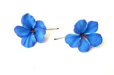 2x Bleu Fleur D'hibiscus Pince Barrette À Cheveux Demoiselle D'honneur