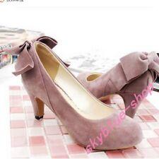 Girls Block Heel Slip on Bowtie Lolita Slip on Faux Suede Shoes Pumps Plus Size