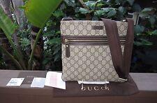 NEW Gucci Ebony/Cocoa Coated Canvas Medium Crossbody Messenger Bag