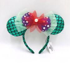 Disney Park Green Minnie Mouse Ears Bow Ariel The Little Mermaid Mickey Headband