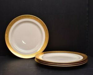 """Lenox Westchester Gold Encrusted 4 Luncheon Plates 9"""" M-139 Green Mark Gumps"""