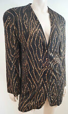 JAEGER Black Brown & Gold Glitter Detail Collarless Evening Blazer Jacket UK10