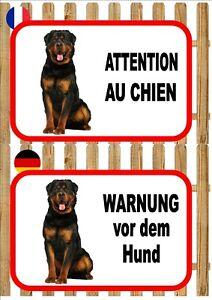 Rottweiler Dog Beware of the Dog Sign ATTENTION AU CHIEN WARNUNG VOR DEM HUND