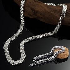 "Königskette Halskette Herren Armband Set Echt 925 Sterling Silber Plattiert 24"""