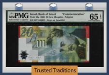 Tt Pk 63a 2008 Israel 20 New Sheqalim M. Sharett Commemorative Pmg 65 Epq Gem!