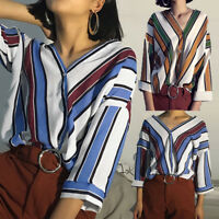 Ladies Women Casual Loose Striped Button V-Neck Tops T-Shirt Long Sleeve Blouse